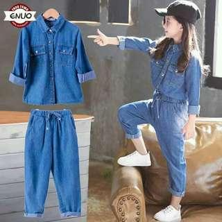 Kids Denim Terno (Top+Pants)