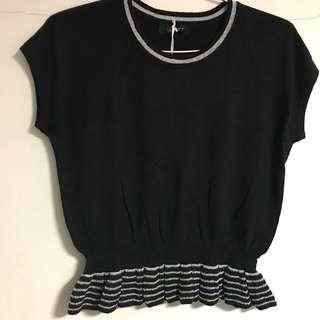 Black knitted sparkly ruffles top