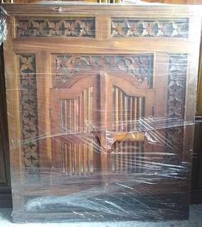 Indonesian Teak Window Shutter Wall Mirror