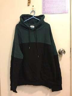 韓國綠黑拼色寬鬆衛衣