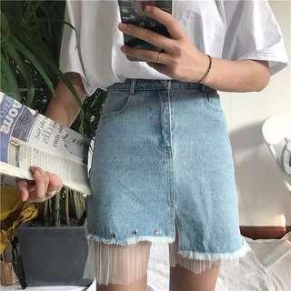 Denim Skirt with Lace (BNIP)