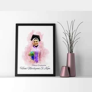 Sketsa Wajah Wisuda Digital A4