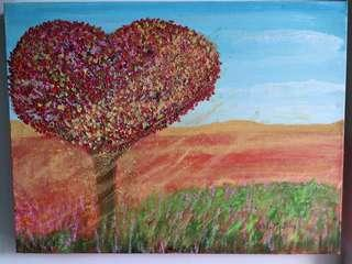 Abstract Painting of Love Tree Made with Love by Artist Melo Ngai