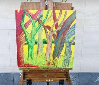 Original Tree Abstract Landscape Painting by Artist Melo Ngai