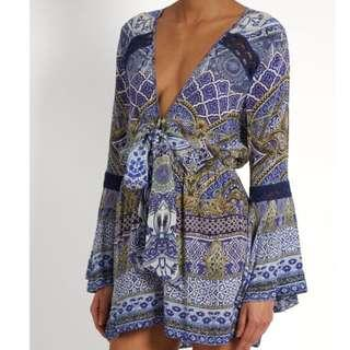Authentic CAMILLA 'it was all a dream' tie-front playsuit