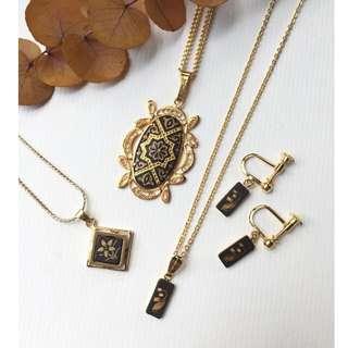 Skin&Moss Vintage經典金色大馬士革花園西班牙Toledo京都大馬士革24k金鑲嵌項鍊