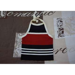 Cue Black, Ivory and Burnt Orange Nautical Stripe Halter Neck Top Size Small Brand-New w/ Tags RRP $130.00