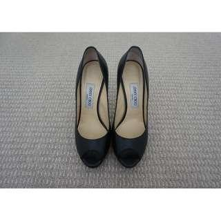 Jimmy Choo 'Quiet' Black Kid Leather Peep-Toe Pumps/Heels Size 39 RRP $690.00 – 100% Authentic