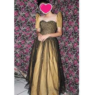 black and yellow filipiniana / ball gown