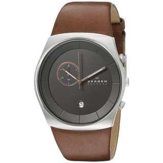 CLEARENCE! Skagen Men's Havene Charcoal Dial Brown Leather Watch SKW6085