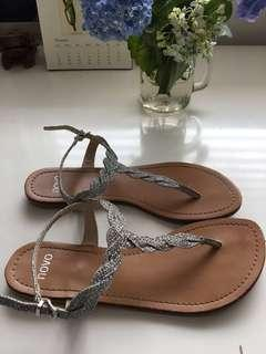 Silver glitter sandals