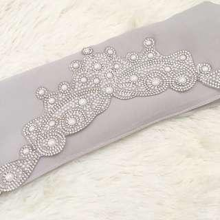 Veil nikah tunang light grey