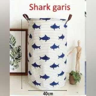 storage bin/keranjang kanvas serbaguna motif shark garis