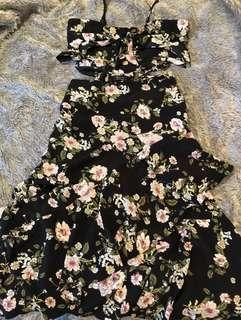 Dissh boutique black floral dress midi 6 xs as new tried on no tags