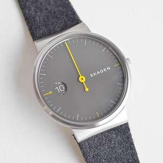 SALE SALE SALE! Skagen Men's Ancher Grey Sandblast Dial Grey Felt Strap Watch SKW6199