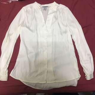 H&M ivory silky shirt 米白色絲質上衣