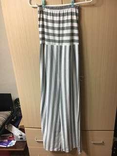 🚚 全超顯瘦棉質新灰白條紋平口連身寬褲