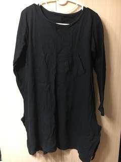 設計師系全黑傘狀側開口ㄧ件式洋裝