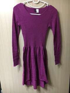 🚚 H&M's 紫紅色ㄧ件式素色氣質洋裝