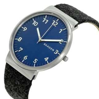 SALE SALE SALE! Skagen Men's Ancher Blue Dial Black Felt Strap Watch SKW6232