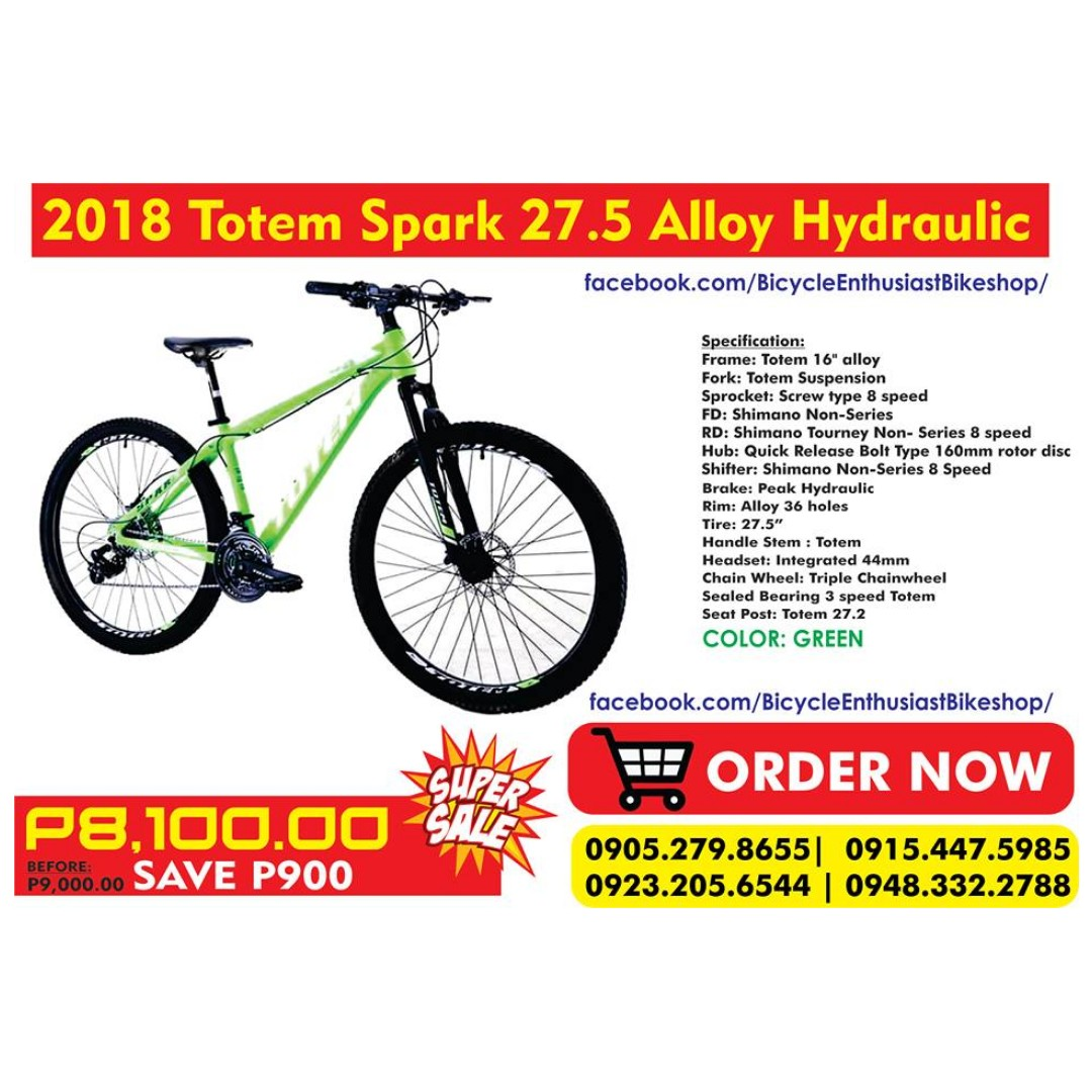 ca6a2714e9f 2018 Totem Spark 27.5 Mountain Bike Bicycle MTB Alloy Hydraulic ...