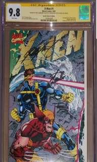 X-men Cover E #1 CGCSS signed Stan Lee , Jim Lee and Chris Claremont