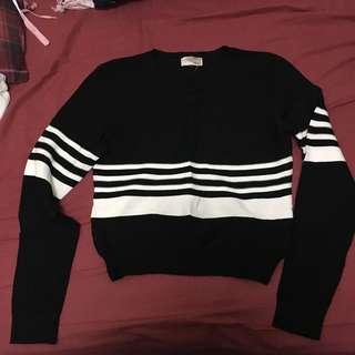 F21 stripe Sweater 短版黑白間條針織衫