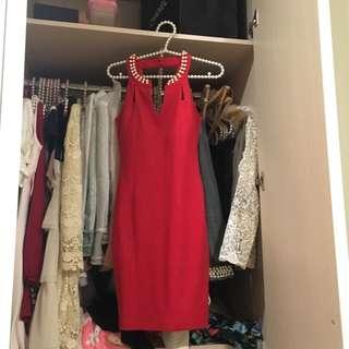 紅色珍珠尾牙洋裝