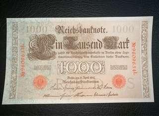 1910年德國1000馬克全新直版圖案精美