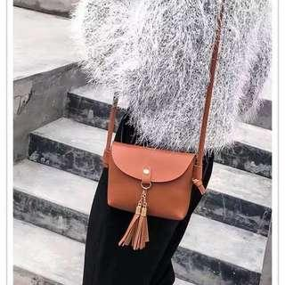 Women Bag PU Leather Korean Tassel Mini Sling Bag