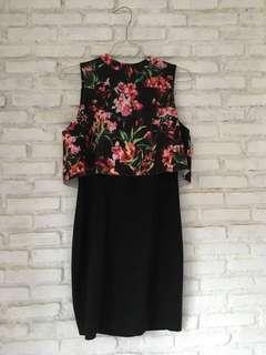 Zalora Dress / Smart Casual / Teapai / Evening Dress / Cocktail Dress / Hitam floral