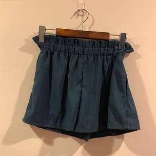 全新藍綠色鬆緊褲頭短褲