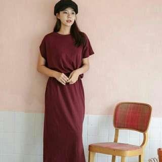 🚚 寬袖口袋棉質長洋裝(酒紅色)Wide sleeve cotton elastic waist dress (wine-red)