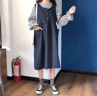 韓系秋冬套裝 格子襯衫 連身裙(一套賣)#十一月女裝半價
