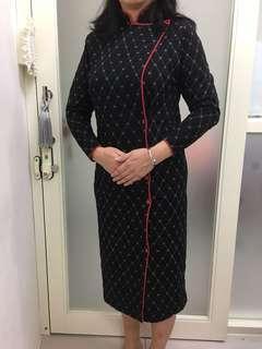 🚚 改良式黑底菱格旗袍洋裝純手工訂製