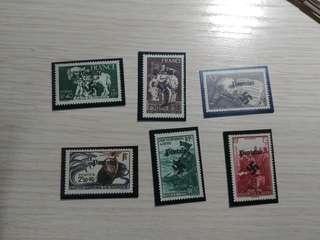 二戰德佔加蓋法國郵票