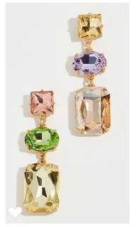 Colour gem drop earring