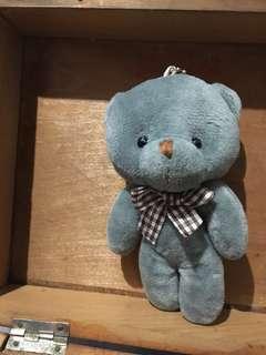 灰色孤單的毛毛小熊吊飾