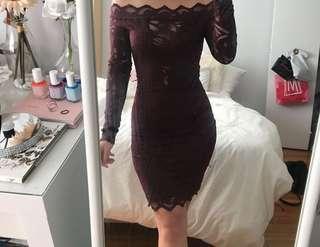 H&M Burgundy Lace Dress