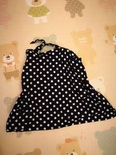 Nursing Cover -  Navy blue and white polkadot