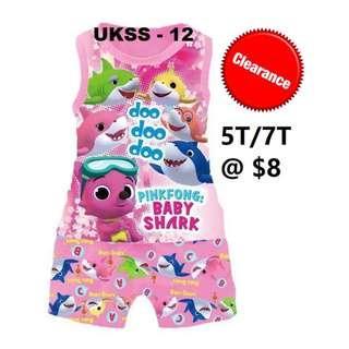 Clearance-- --Baby Shark Sleeveless Tshirt/shorts Set For 5T/7T