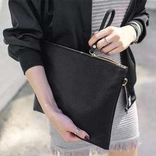Simple Black TPU Leather Clutch Bag