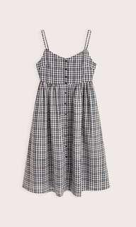 Gingham Midi Buttoned Dress