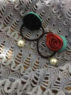珍珠玫瑰花髮束髮圈組