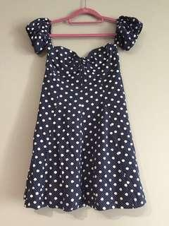 (NEW) Kimchi Blue Off the Shoulder Blue Polka Dot Sweetheart Dress (Size S)