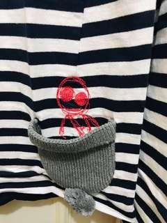 🚚 a la sha 條紋上衣 阿財躲在帽子裡