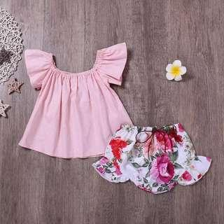 [PO] Ruffle sleeve top with floral shorts baby girl set