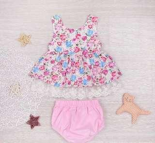 [PO] Floral baby doll top with shorts baby girl set
