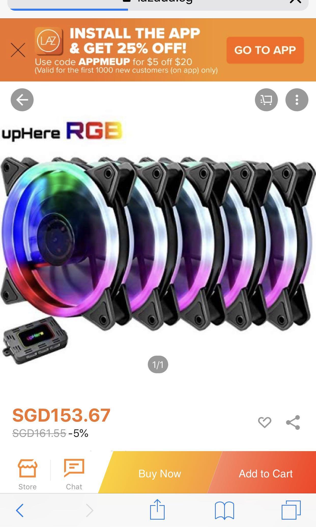 5pcs RGB Fans with remote, Electronics, Computer Parts