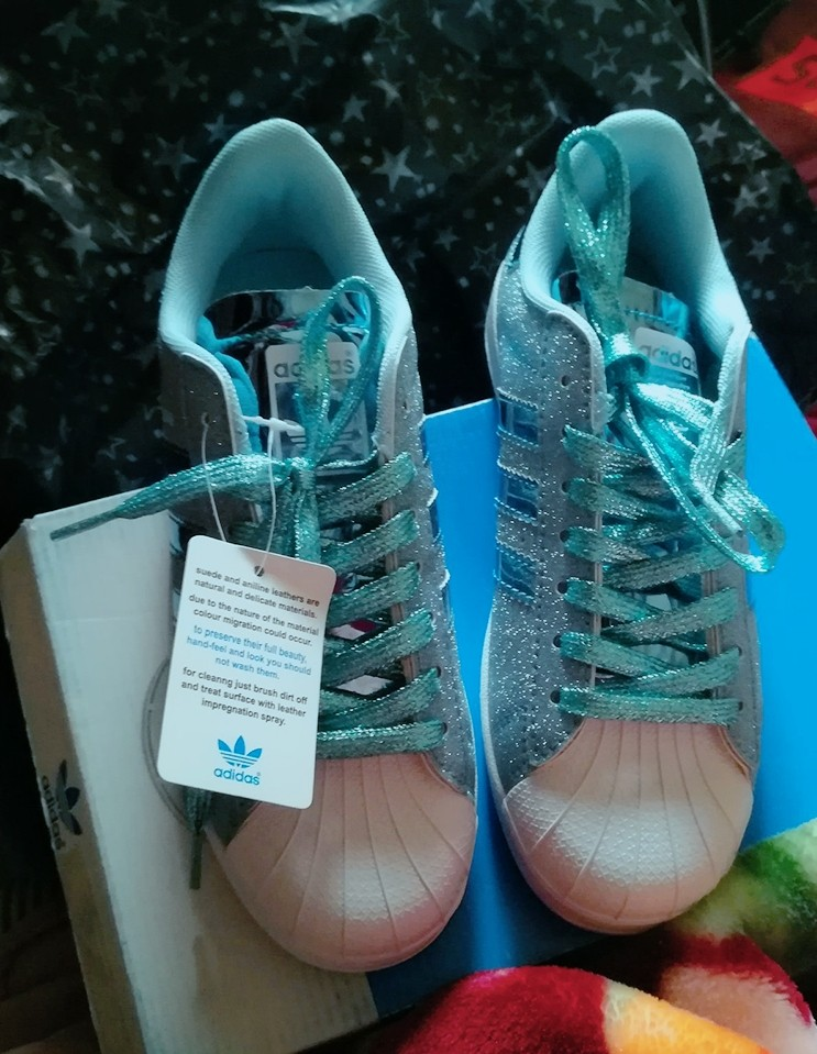 f78d88463 Adidas Superstar Glitter Skyblue
